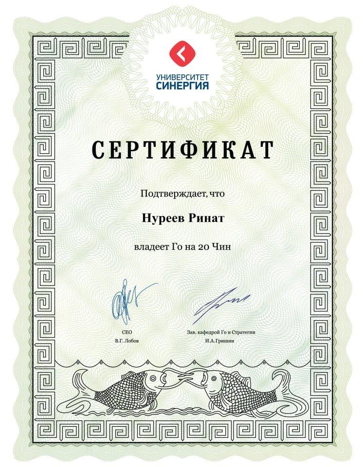 Сертификат системы Чин-Сан